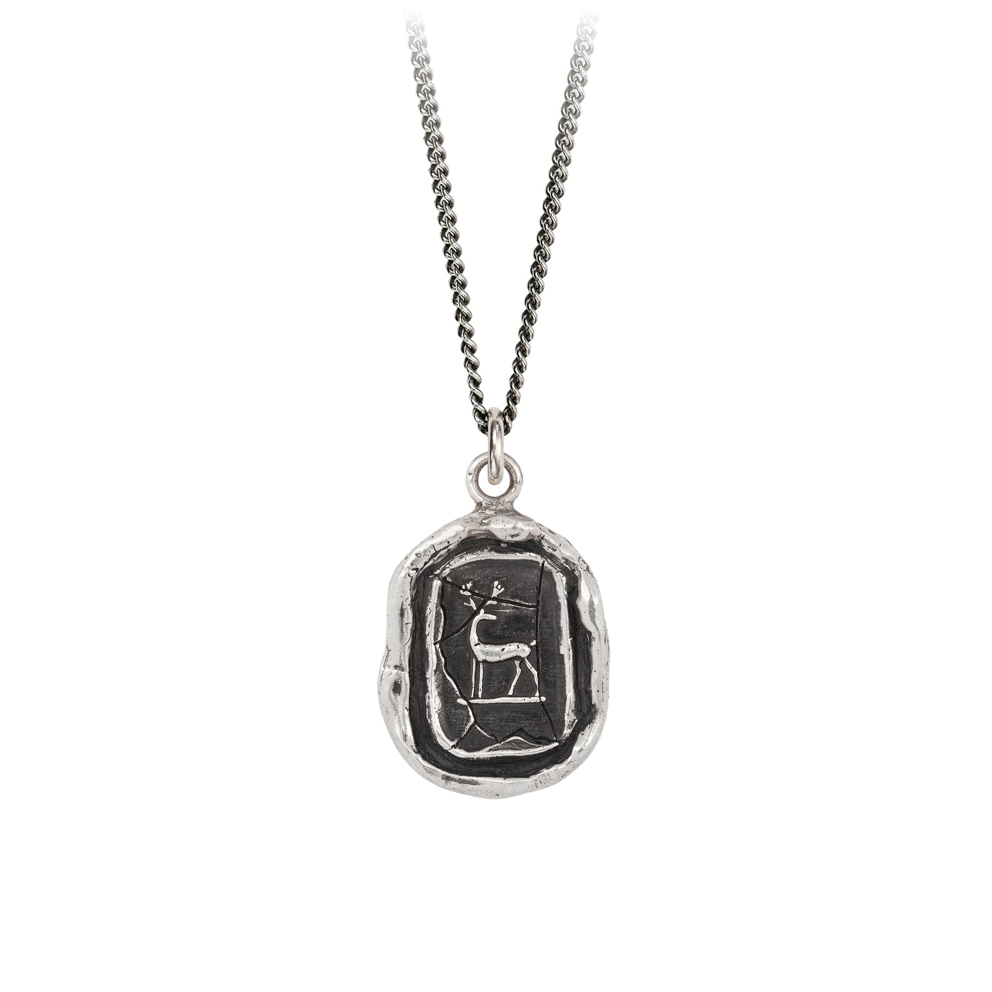 Pyrrha Whole Hearted Talisman Necklace Fine Curb Chain Silver
