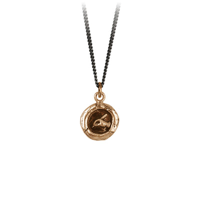 Pyrrha Writer Talisman Necklace Fine Curb Chain Bronze