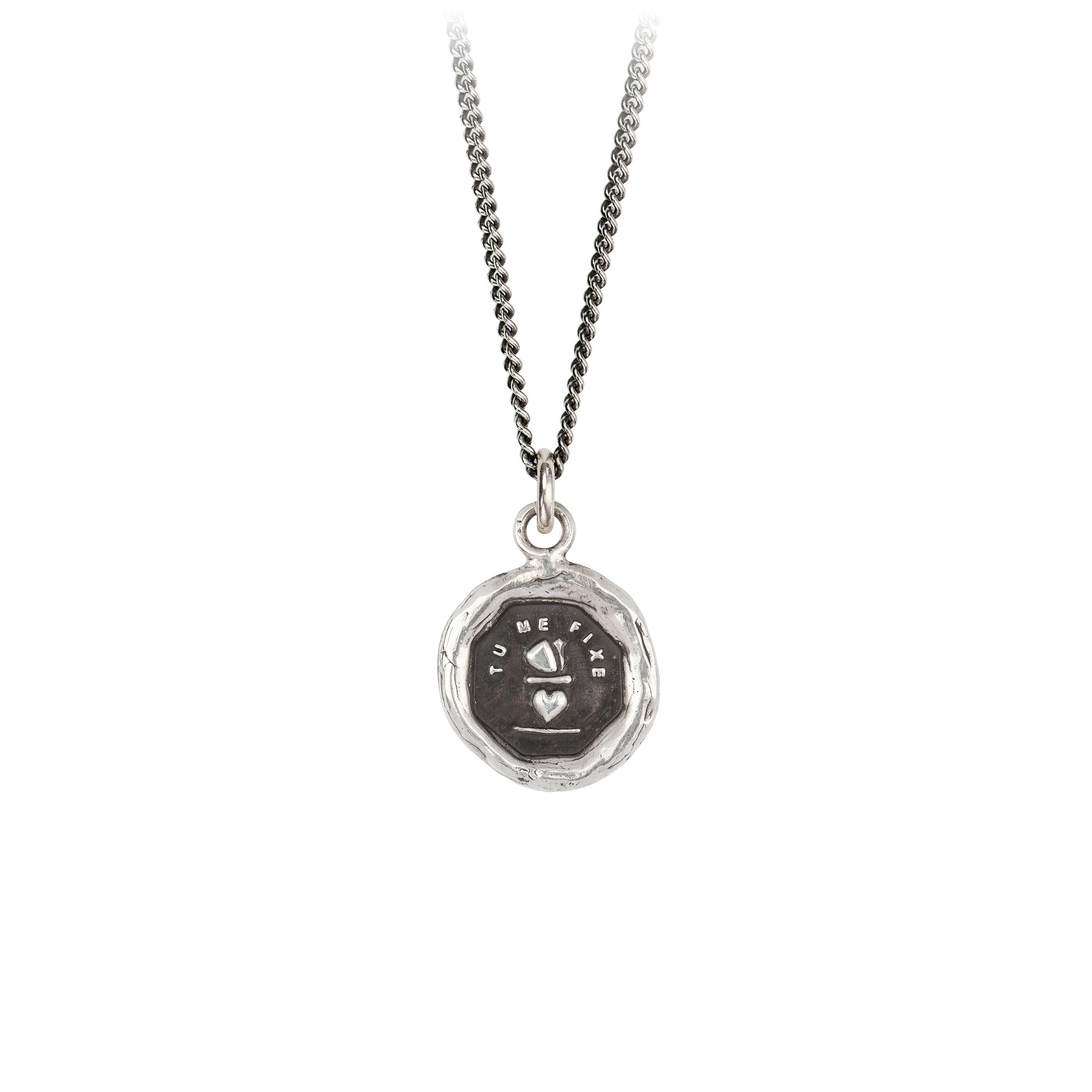Pyrrha You Complete Me Talisman Necklace Fine Curb Chain Silver