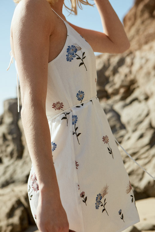 Poppy Dress in White Floral