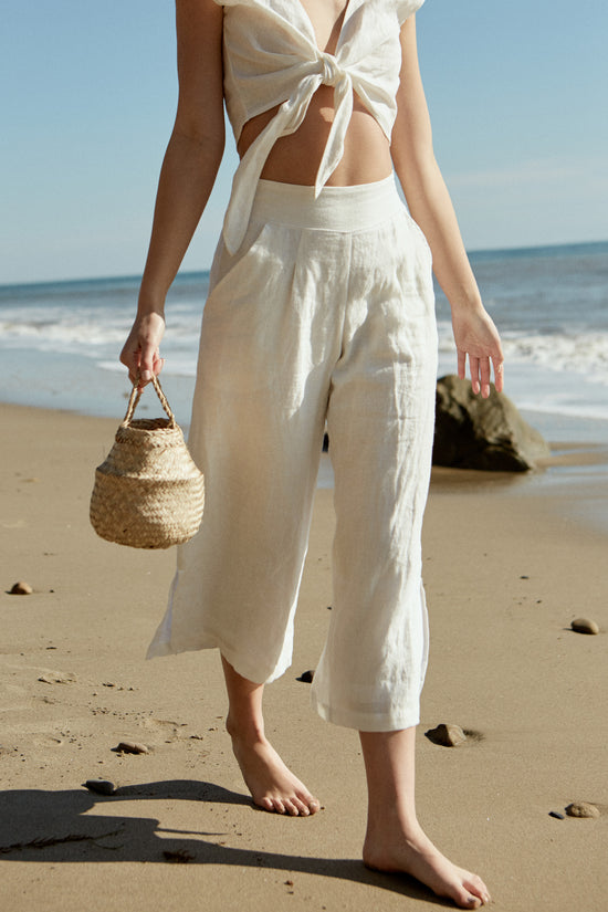 Valentina Pant in White Linen - Whimsy & Row