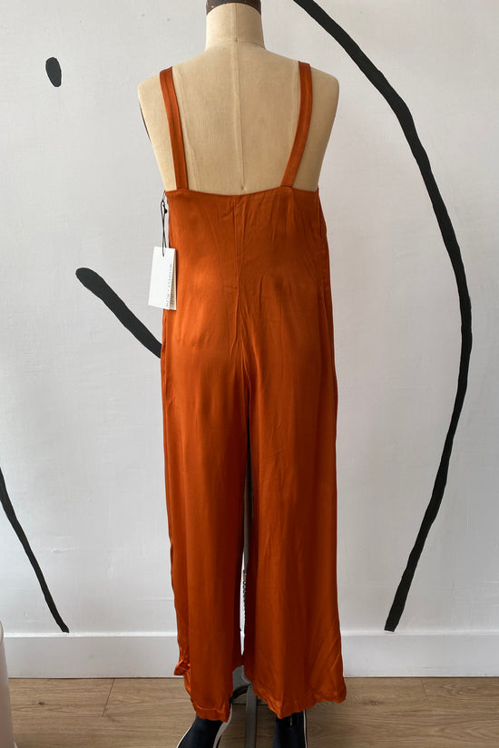 Sample Sale Isabella Jumpsuit in Shiny Rust - Whimsy & Row