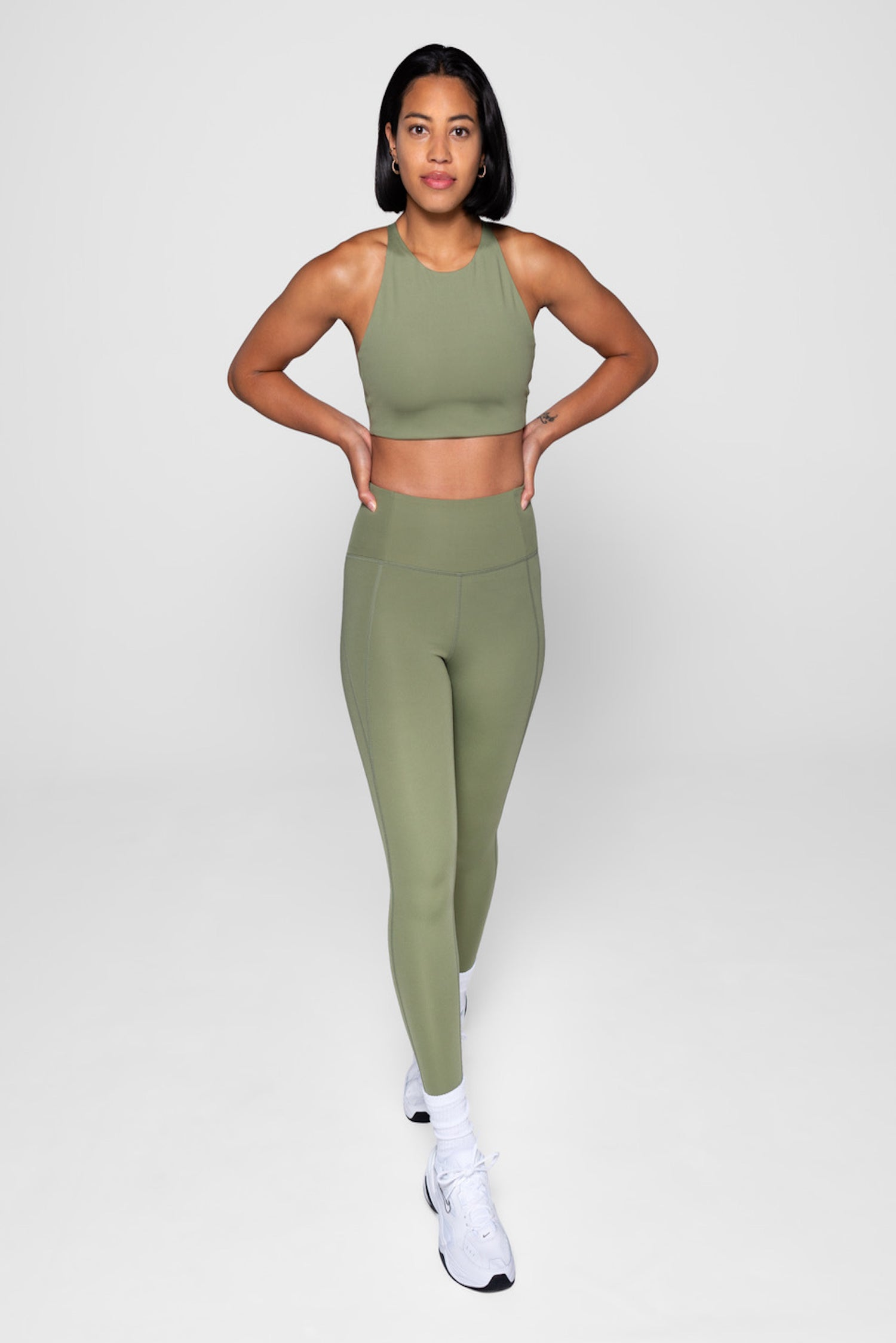 Girlfriend Collective Short Compressive High-Rise Legging in Olive