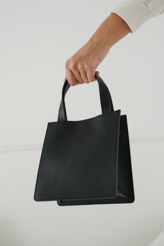 Baggu Small Leather Tote in Black