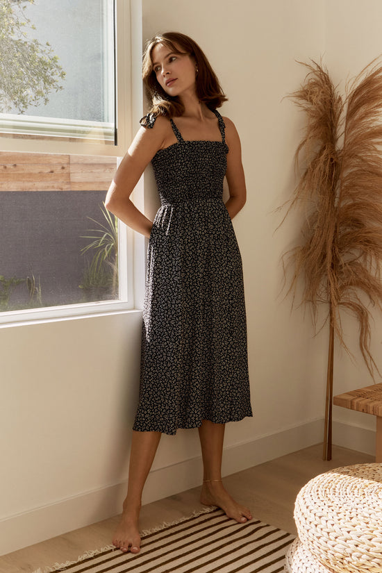 Sophie Dress in Black Petite Floral - Whimsy & Row