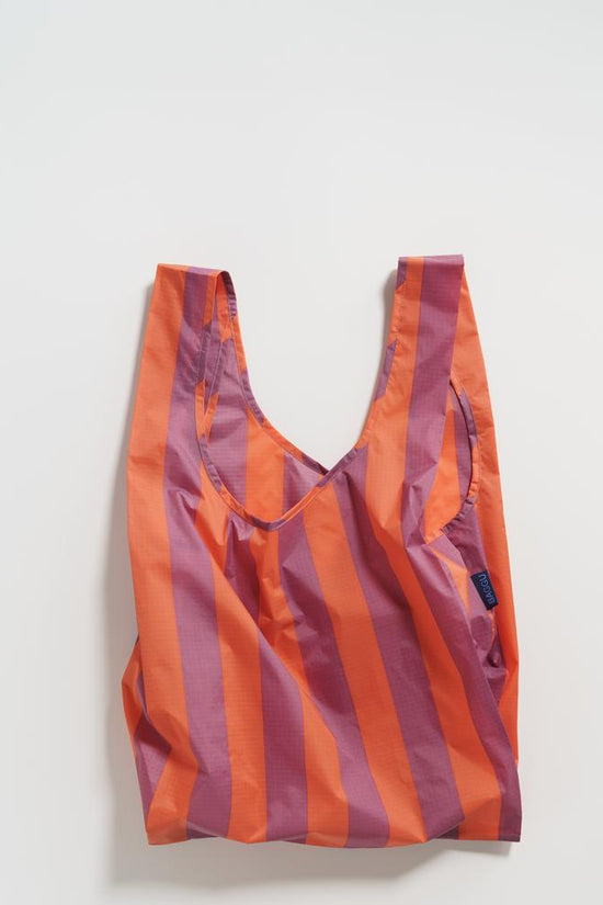 Baggu Reusable Tote- Stripe Orange and Mauve - Whimsy & Row
