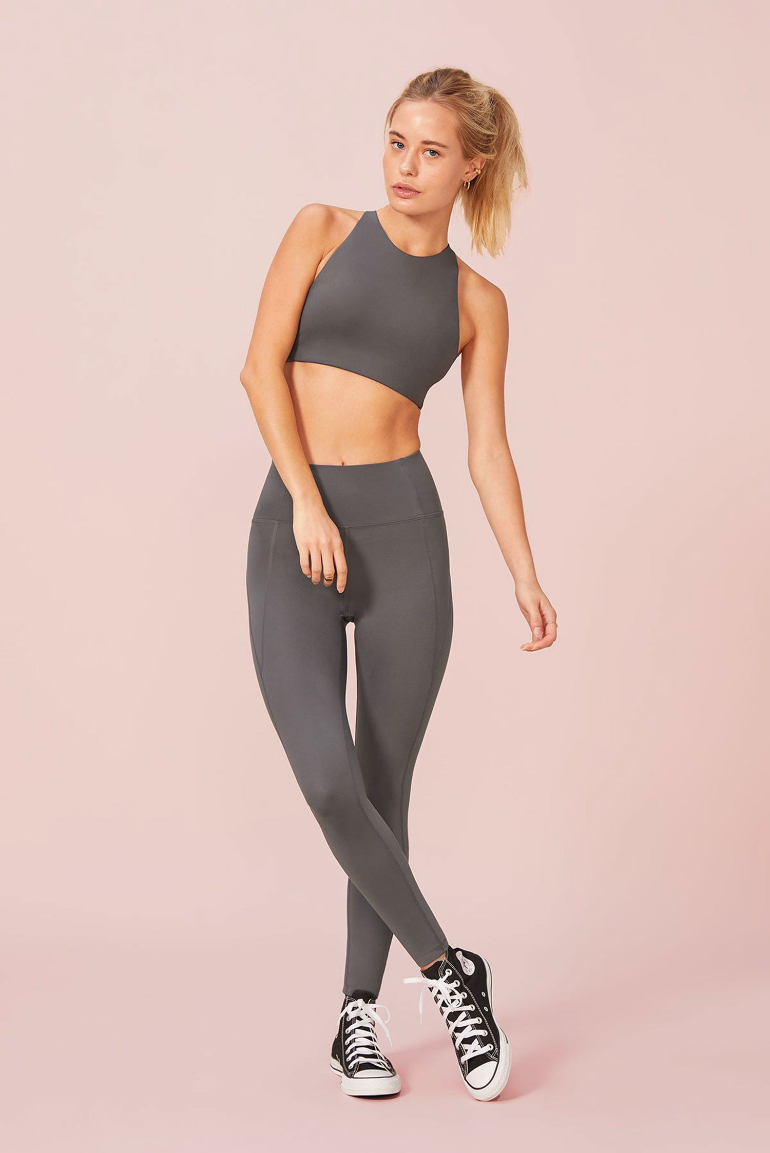 Girlfriend Collective Long Compressive High-Rise Legging in Shadow