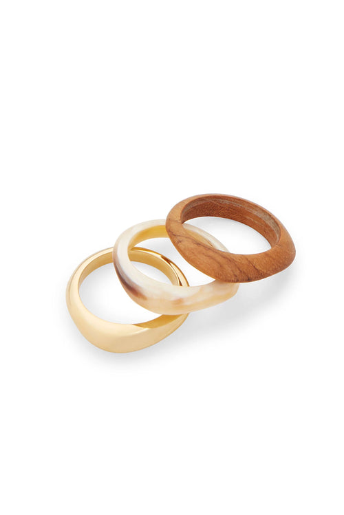 Soko Sabi Mixed Material Stacked Rings