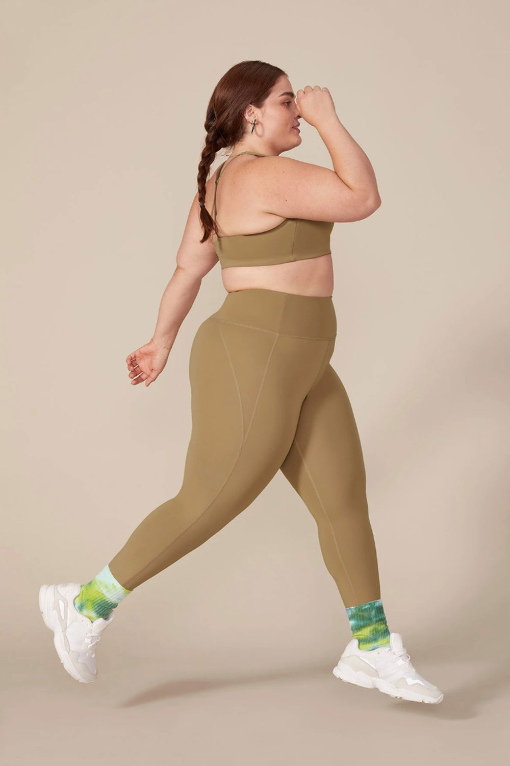 Girlfriend Collective Long Compressive High-Rise Legging in Sand - Whimsy & Row