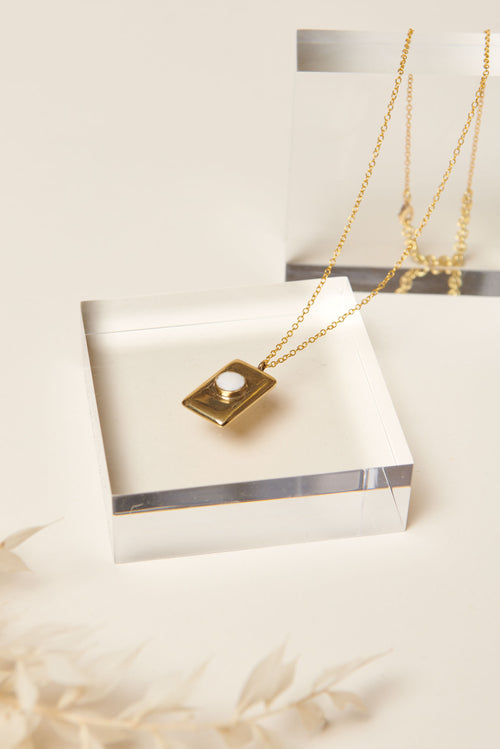 Soko Bezeled Rectangle Medallion Necklace (White)