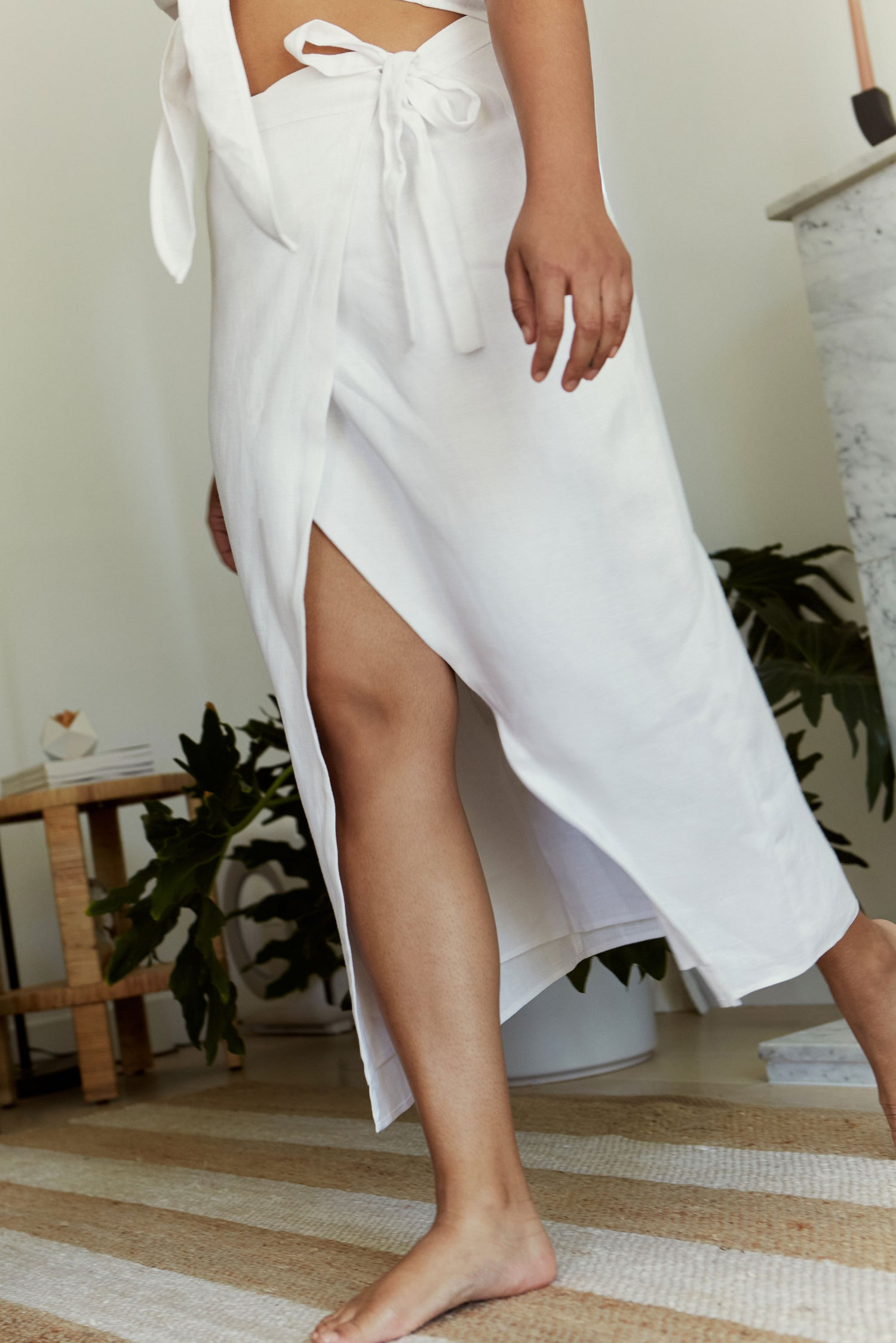 Valentina Skirt in White Linen