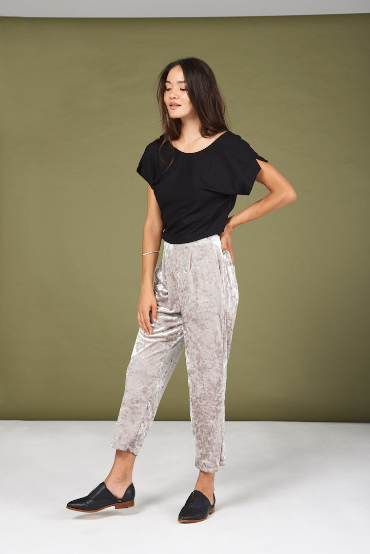 Rowen Pants in Silver Crushed Velvet - Whimsy & Row