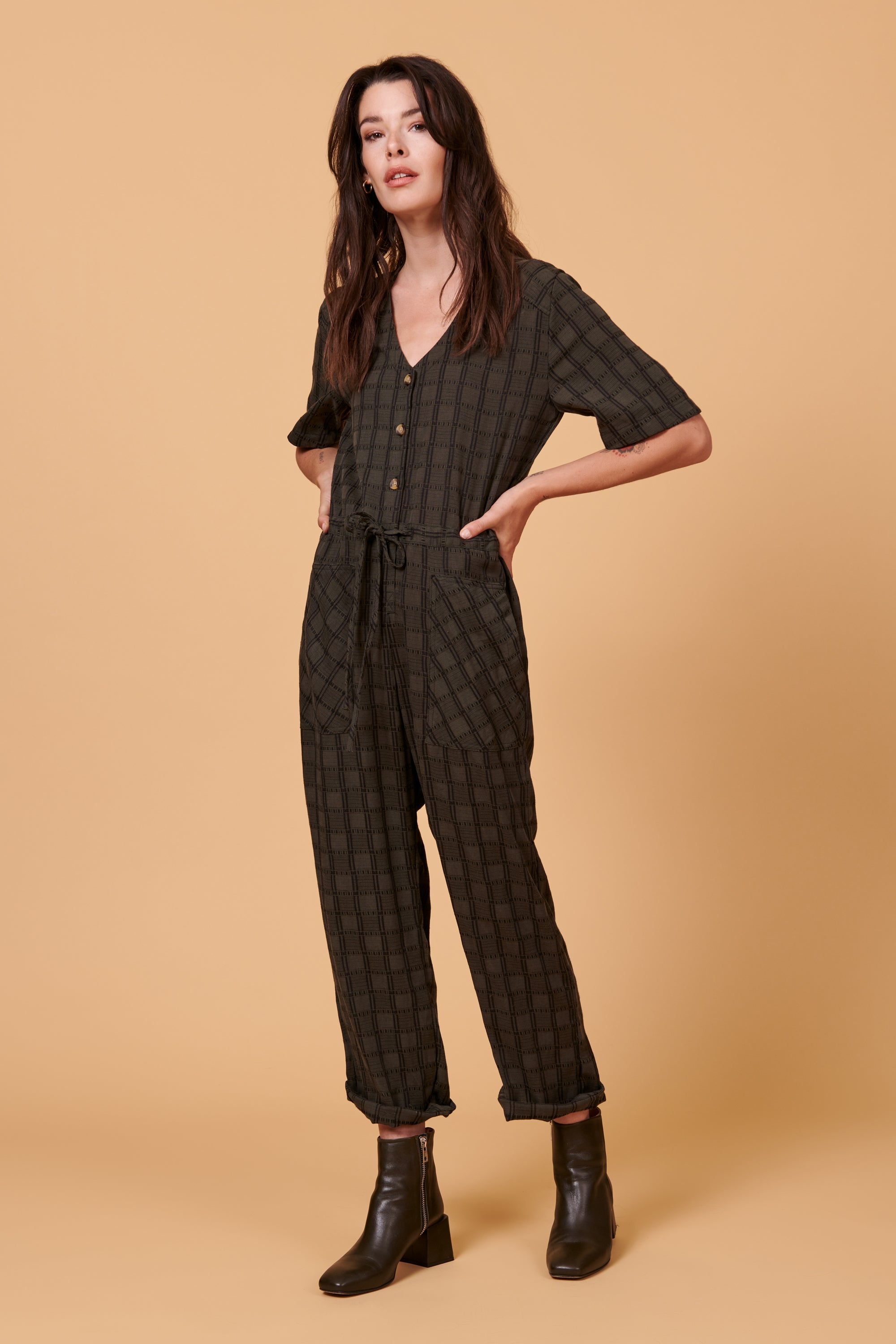 Remy Jumpsuit in Hunter Plaid