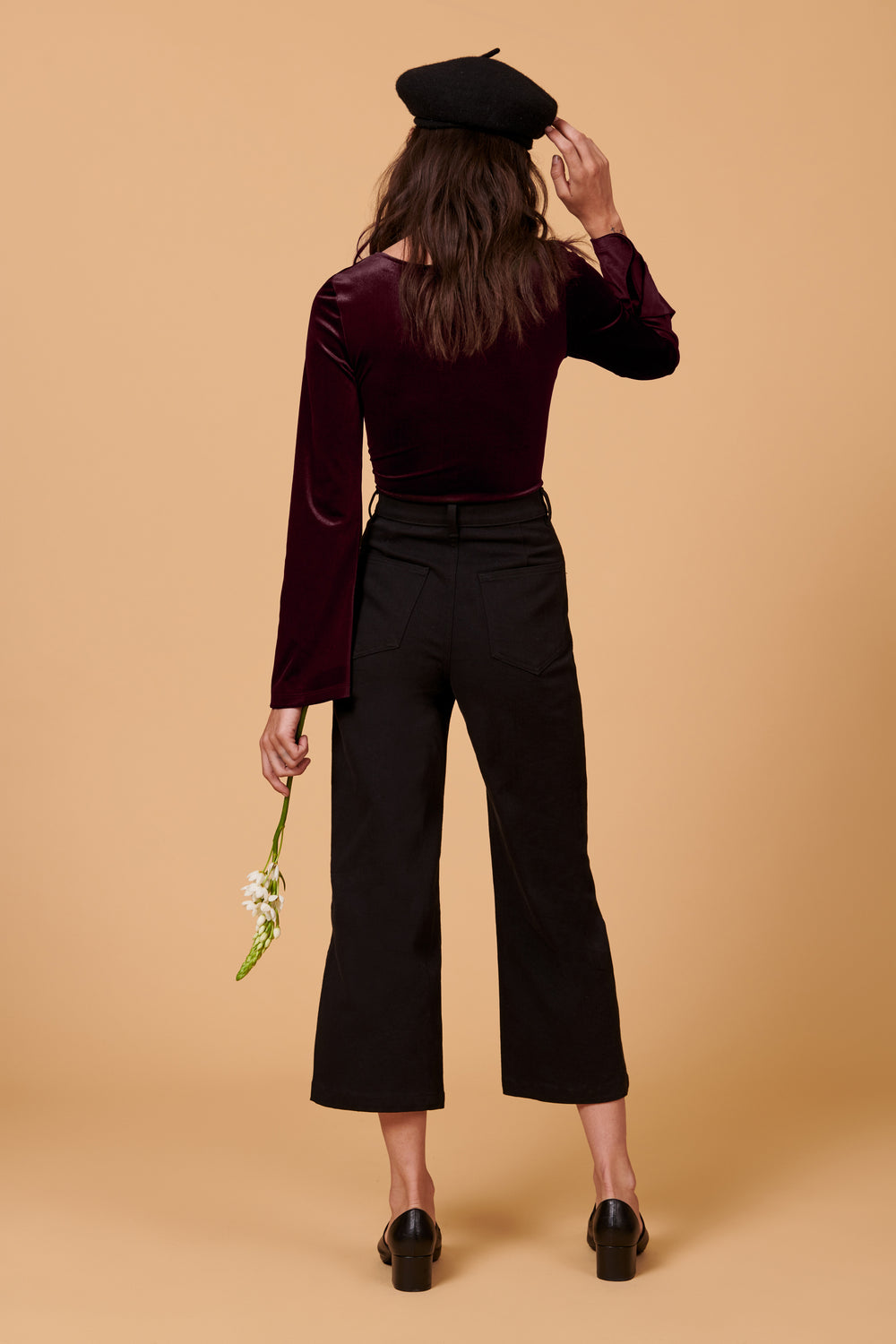 Alyssa Bodysuit in Plum Velvet - Whimsy & Row