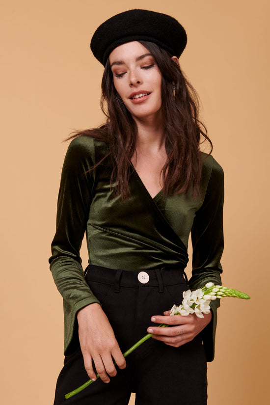 Alyssa Bodysuit in Green Velvet - Whimsy & Row