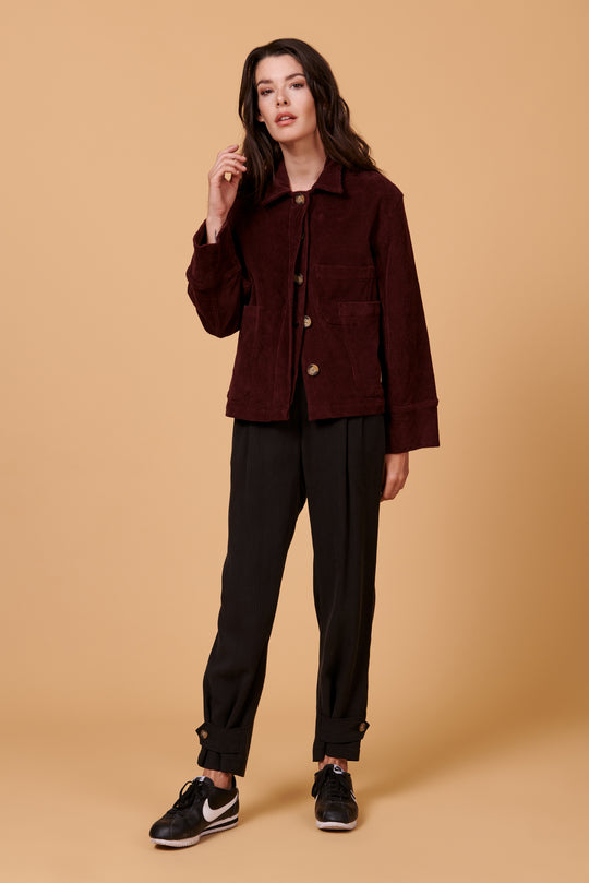 Hayden Jacket in Plum Corduroy