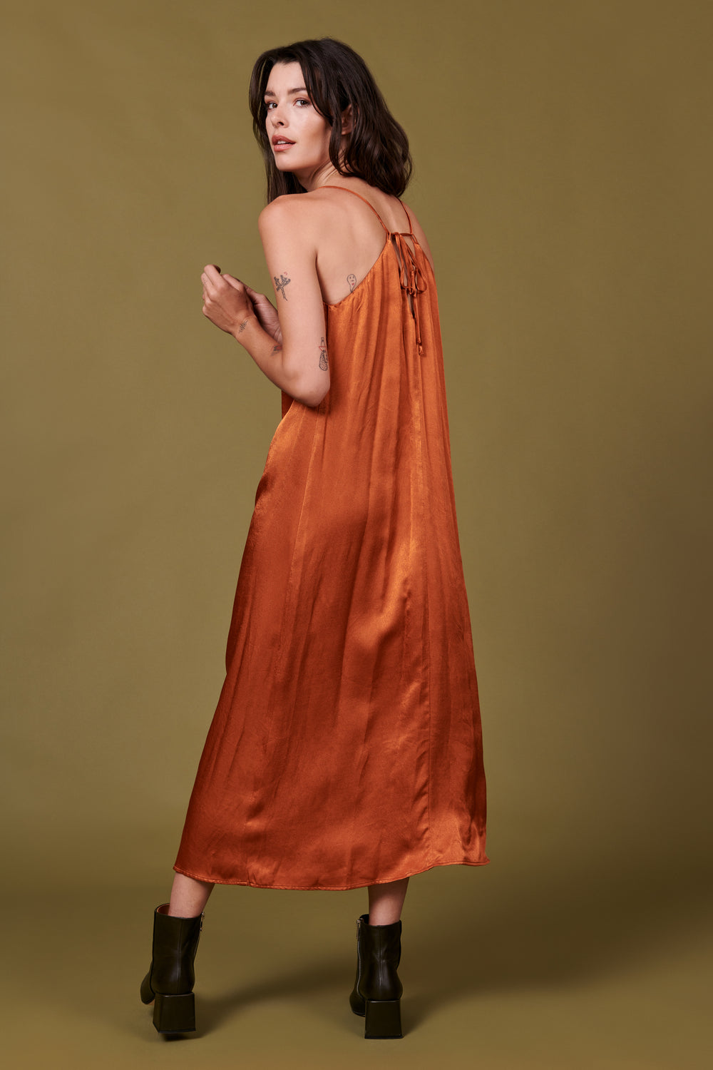 Jade Dress in Shiny Rust - Whimsy & Row