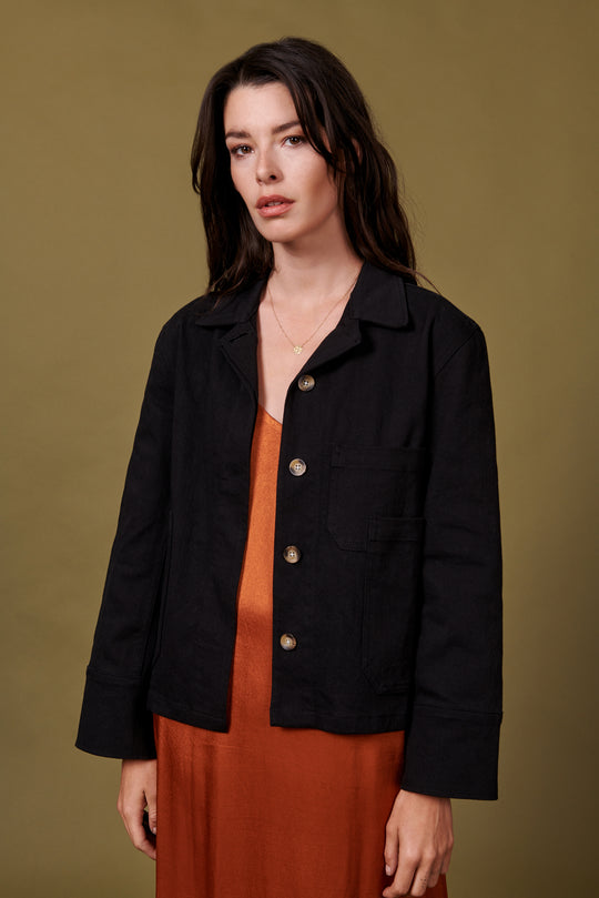 Hayden Jacket in Black Twill