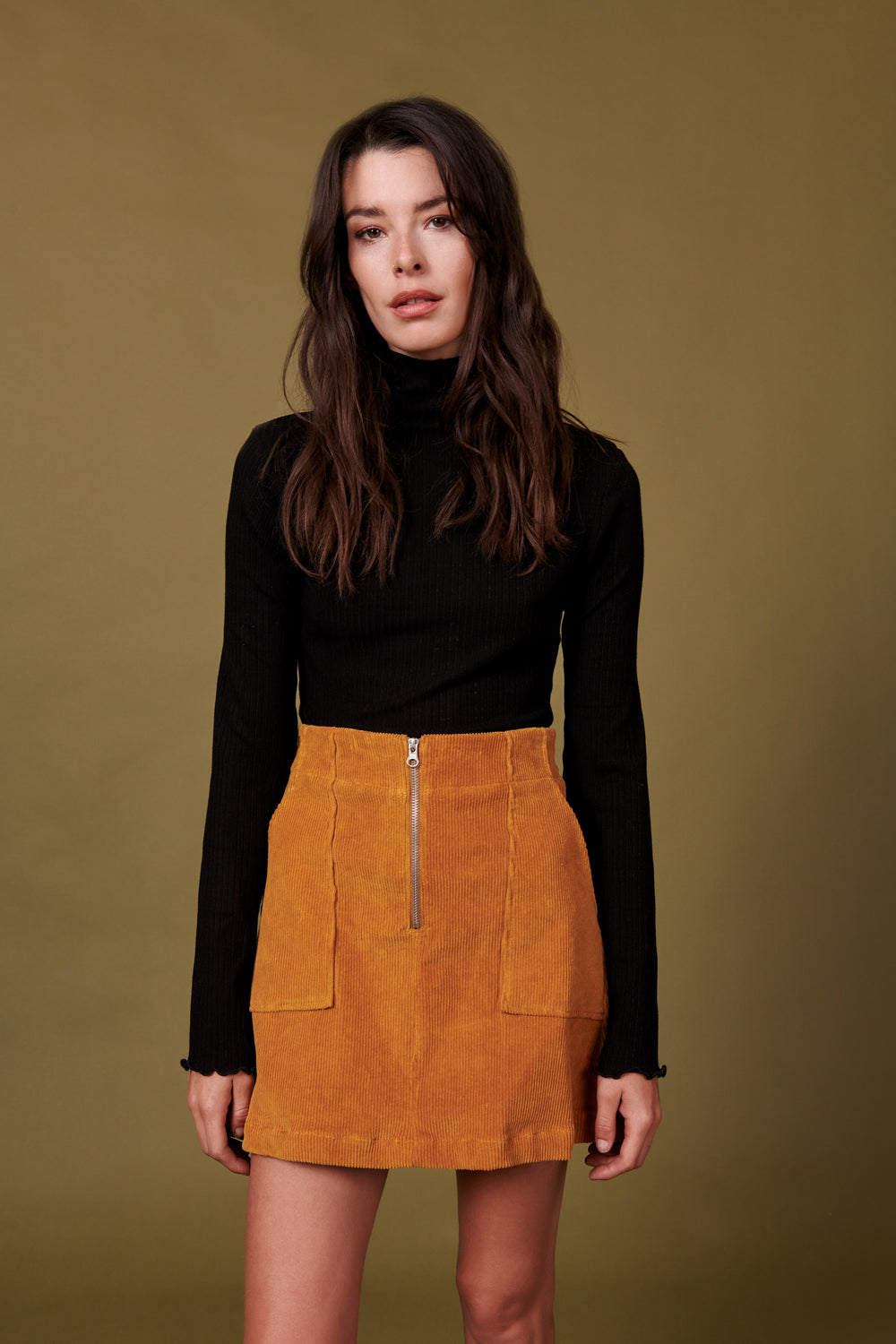 Jenna Skirt in Gold Corduroy - Whimsy & Row