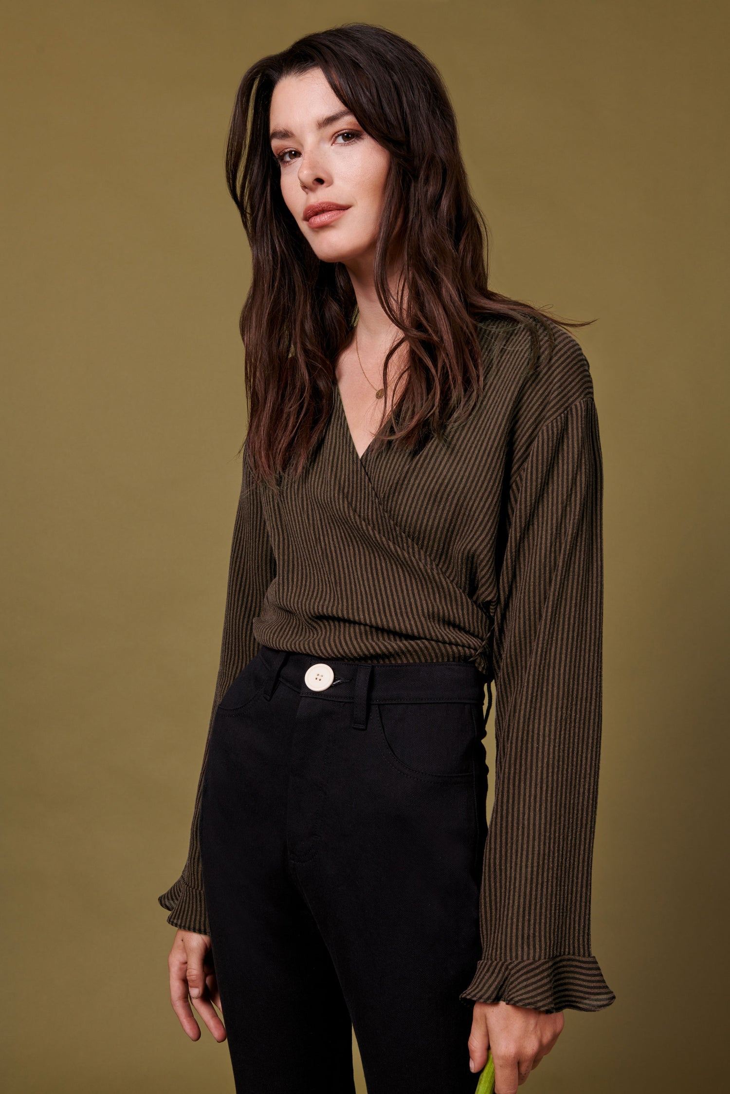 Evelyn Top in Brown Stripe