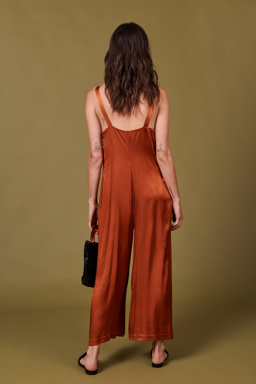 Isabella Jumpsuit in Shiny Rust - Whimsy & Row
