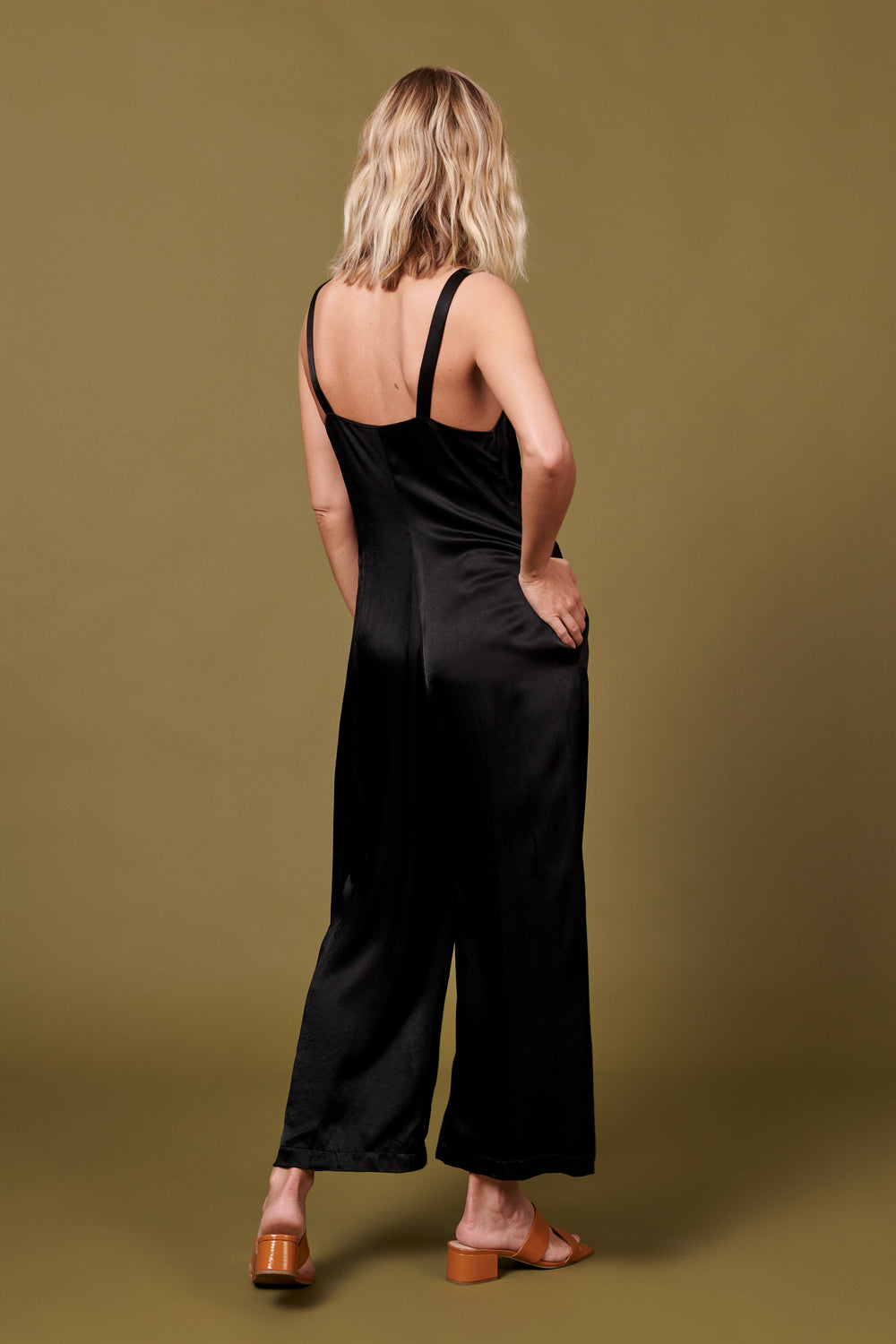 Isabella Jumpsuit in Shiny Black - Whimsy & Row