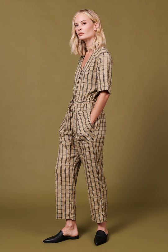 Remy Jumpsuit in Tan Plaid