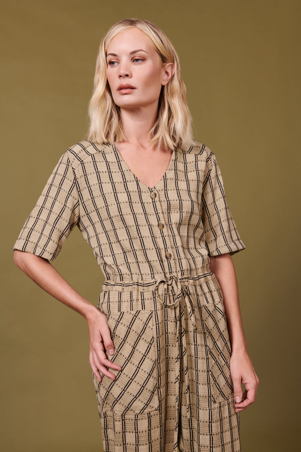 Remy Jumpsuit in Tan Plaid - Whimsy & Row