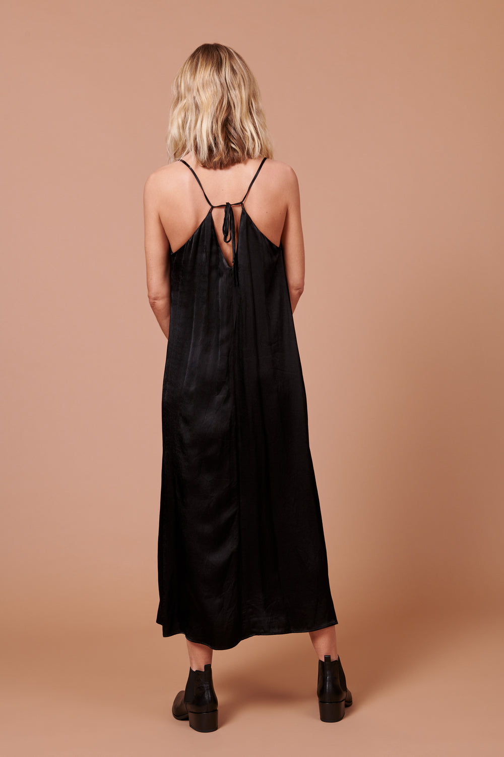 Jade Dress in Shiny Black - Whimsy & Row