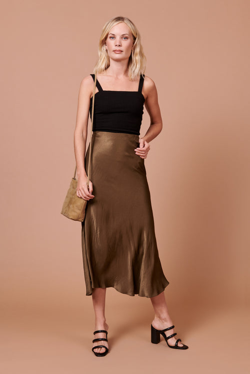 Diana Skirt in Shiny Hunter Green