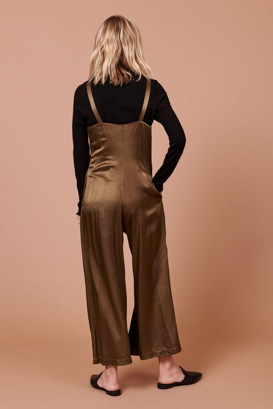 Isabella Jumpsuit in Shiny Hunter Green