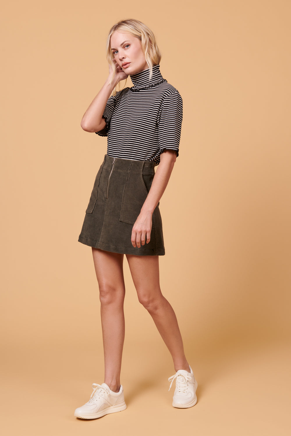 Jenna Skirt in Grey Corduroy - Whimsy & Row