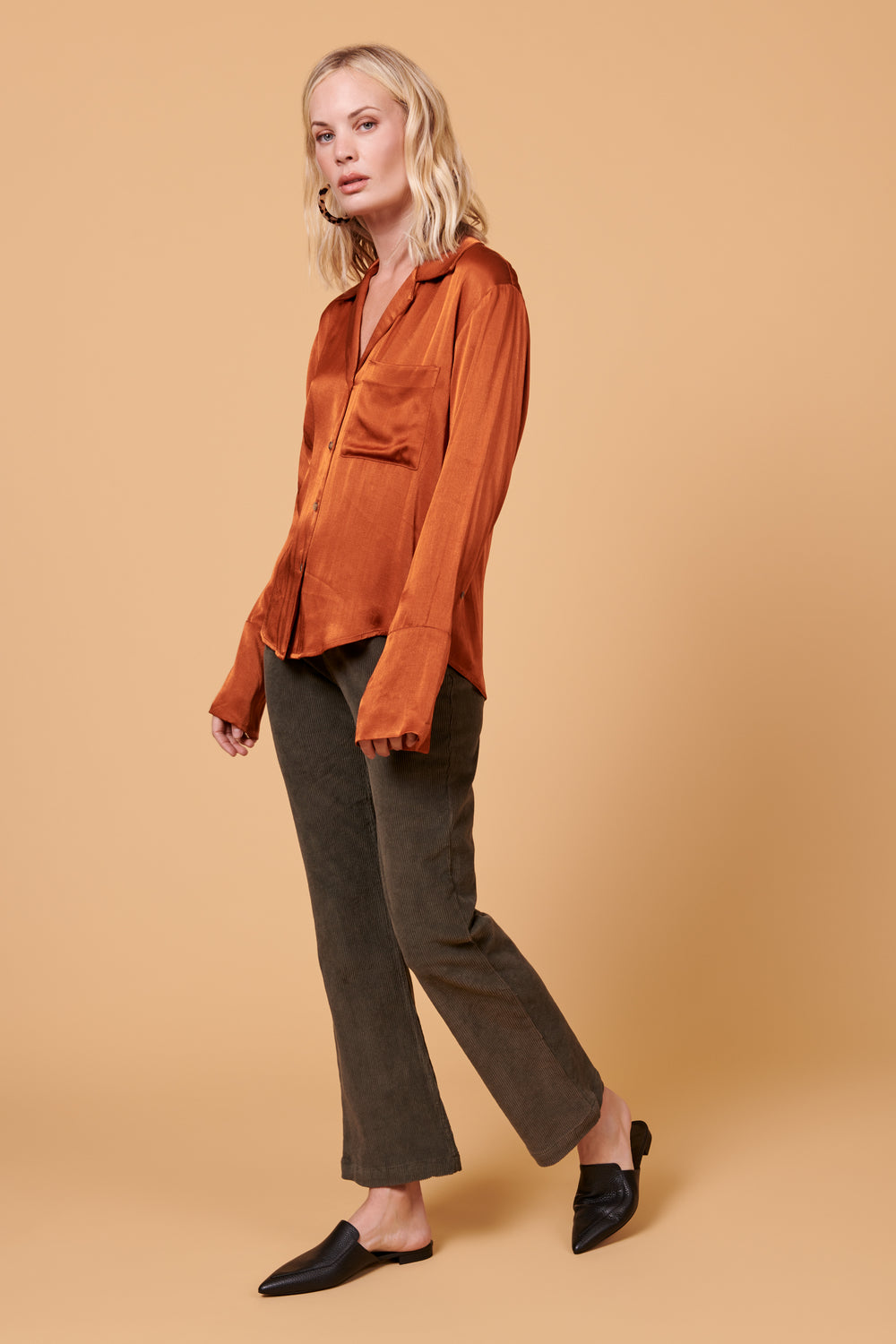 Maya Button Up in Shiny Rust - Whimsy & Row