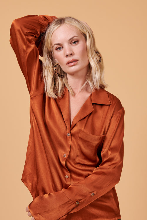 Maya Button Up in Shiny Rust