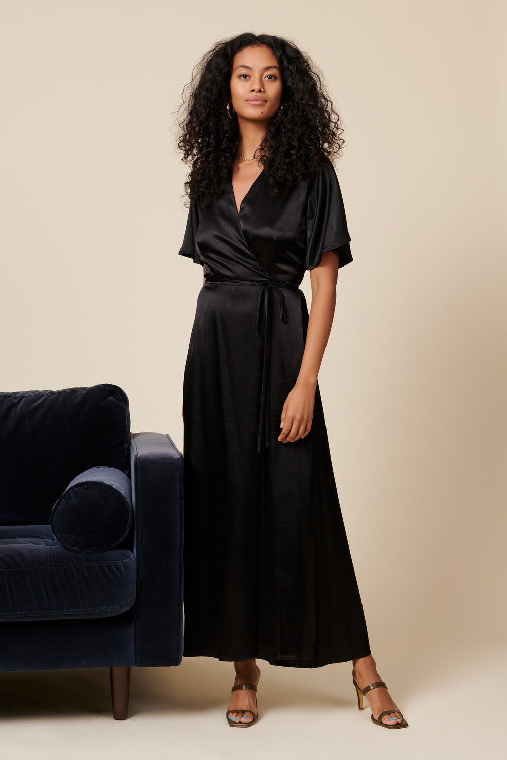 Lola Wrap Dress in Black - Whimsy & Row