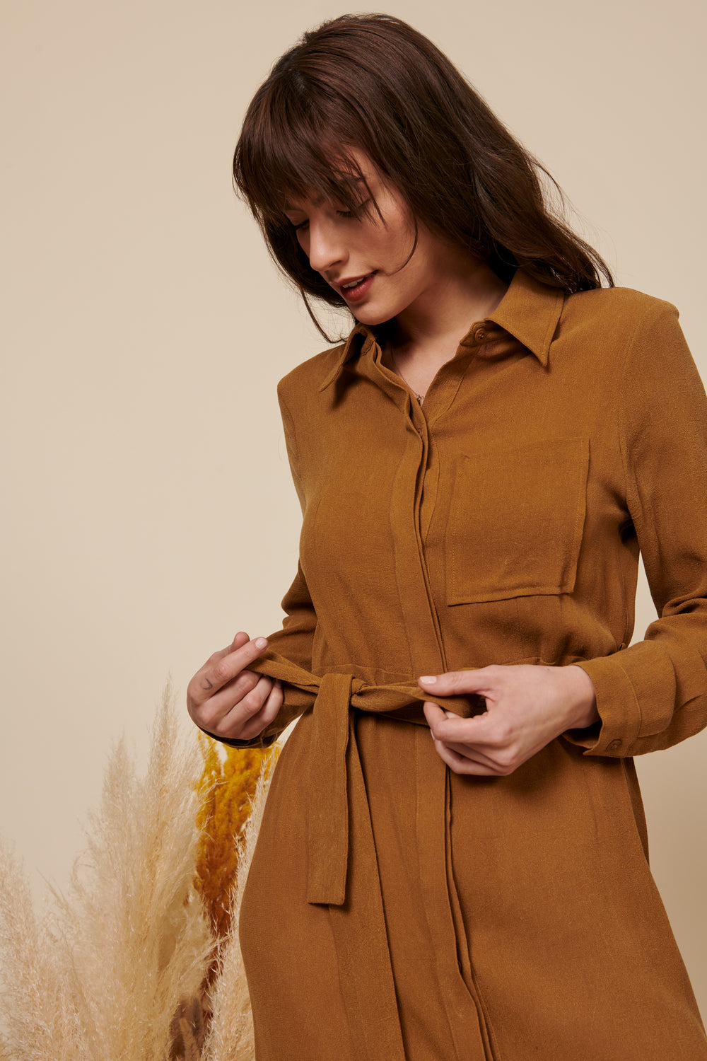 Zoe Dress in Tan - Whimsy & Row