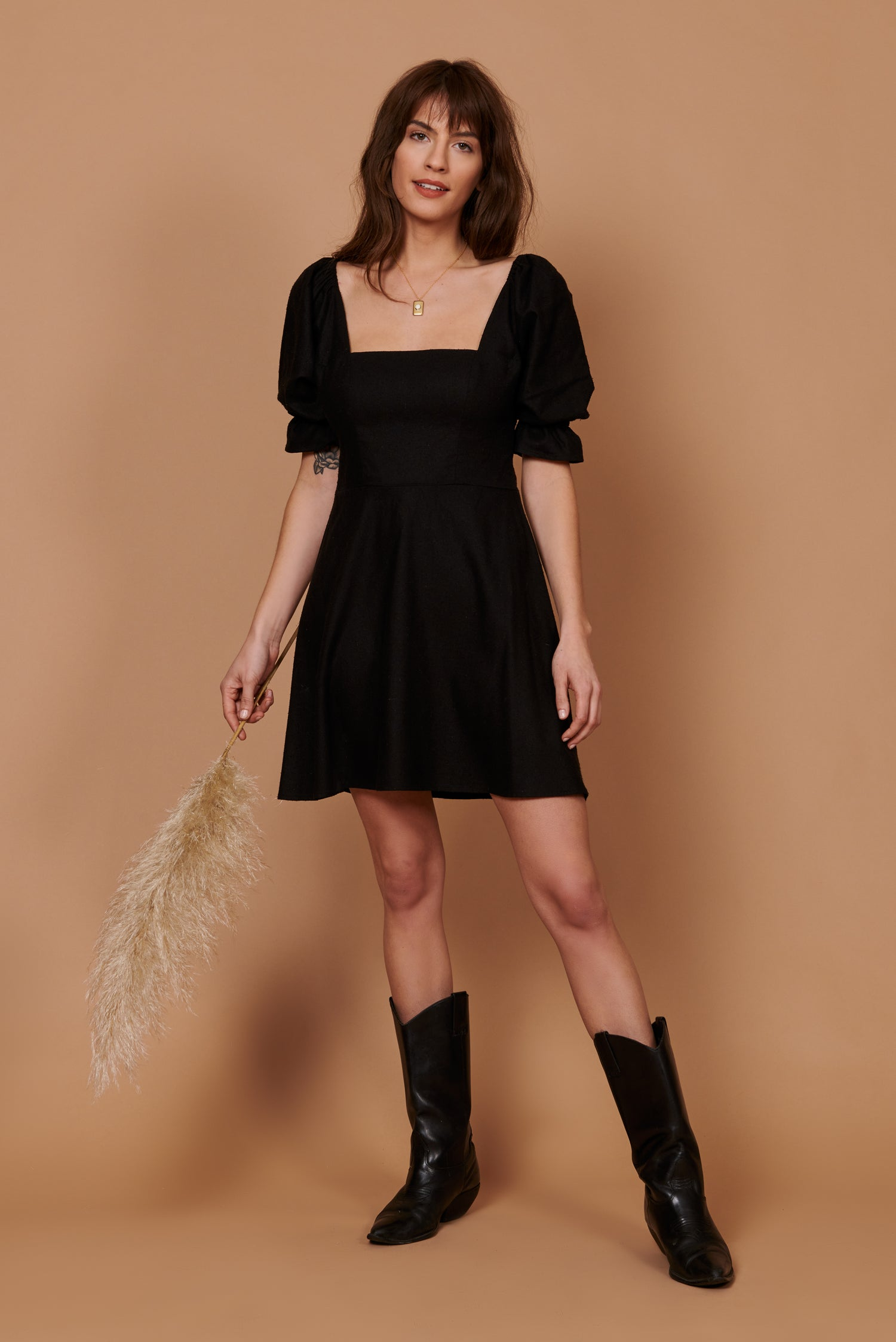 Olivia Dress in Black Silk Noil