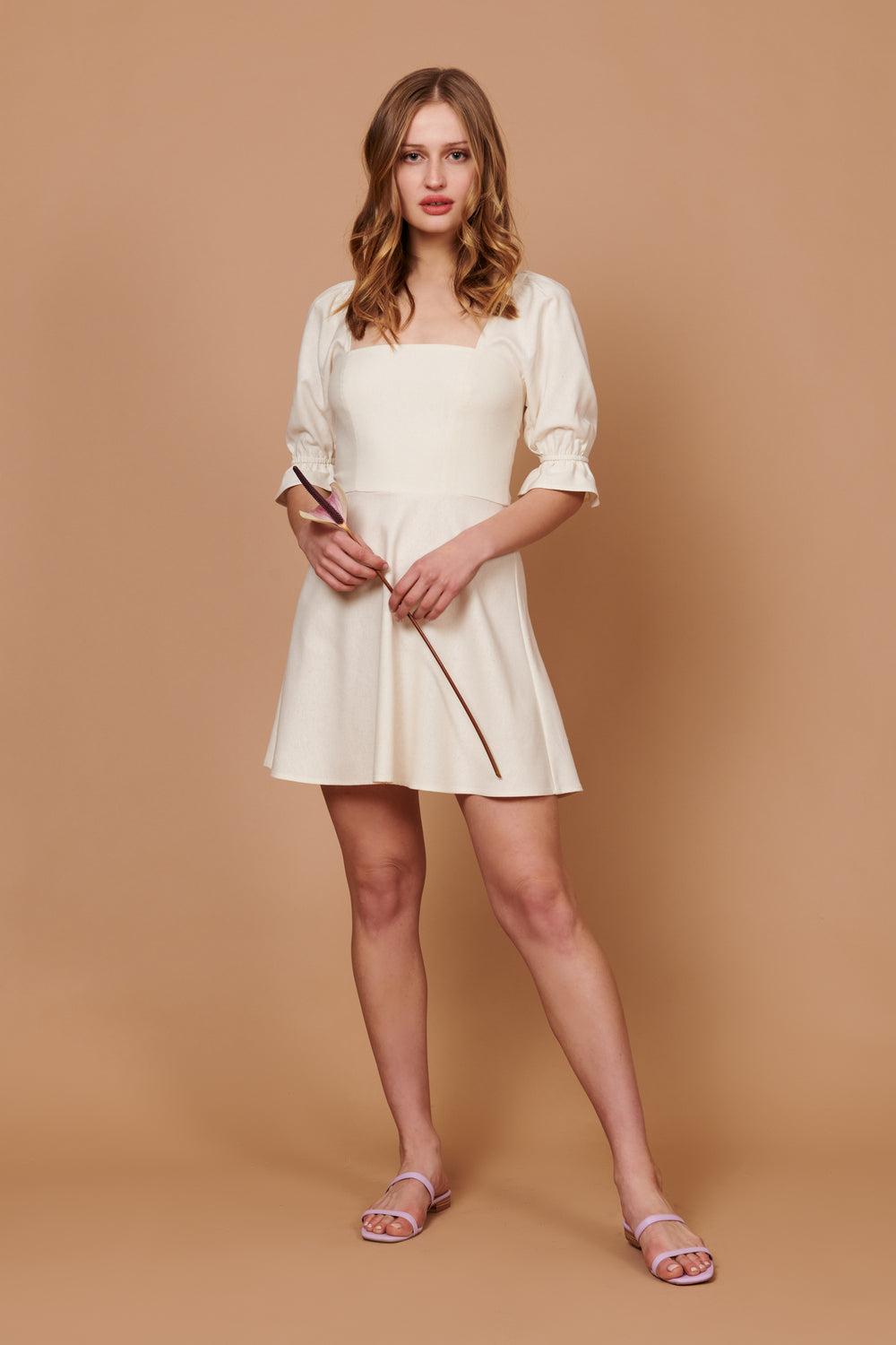 Olivia Dress in White Silk Noil - Whimsy & Row