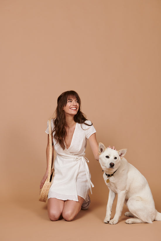 Perri Dress in White Linen - Whimsy & Row