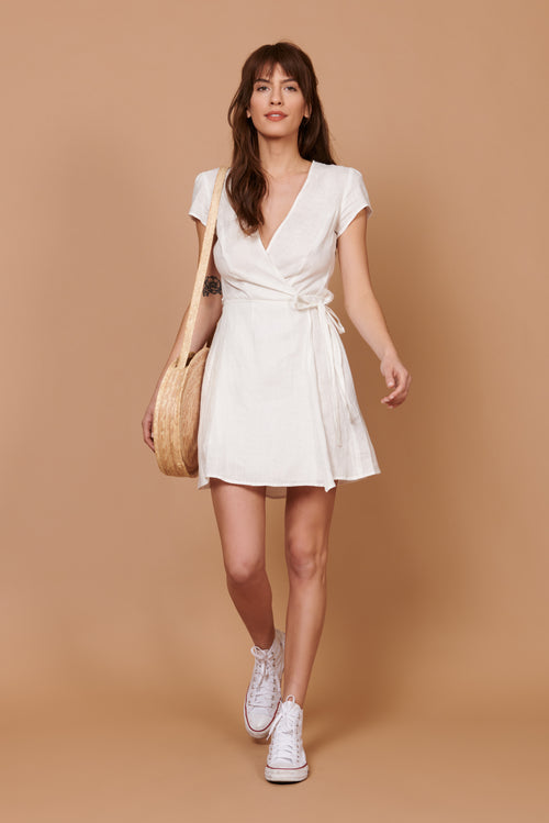 Perri Dress in White Linen