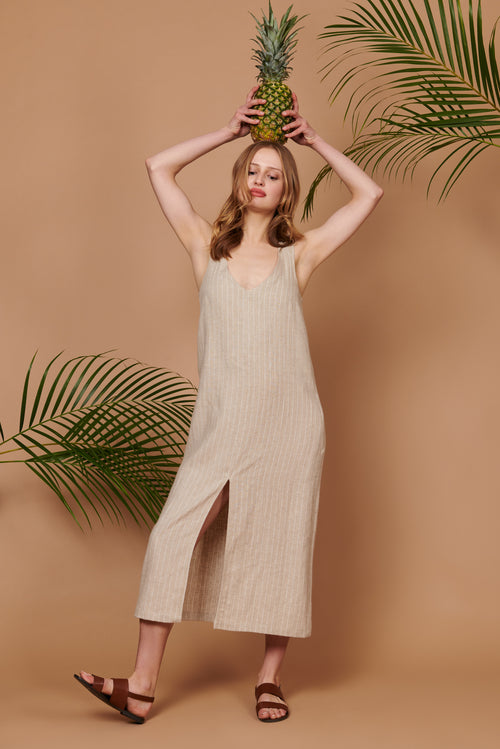 Luna Dress in Stripe Linen
