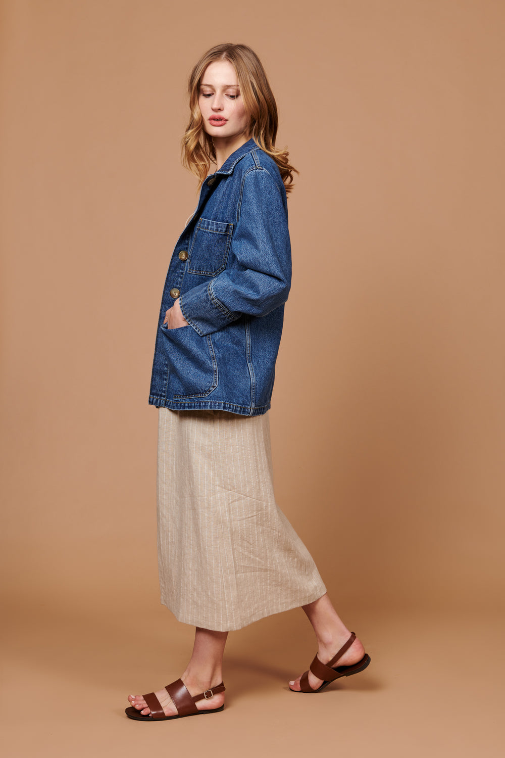 Jordan Jacket in Dark Blue Denim - Whimsy & Row