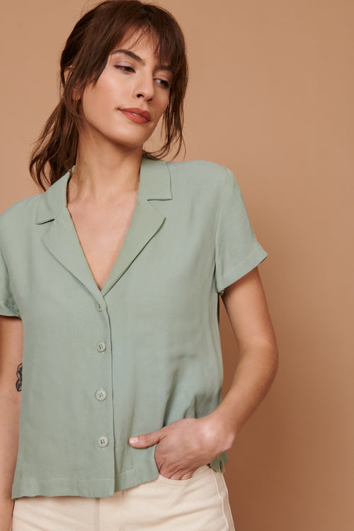 Lena Button Down in Sage