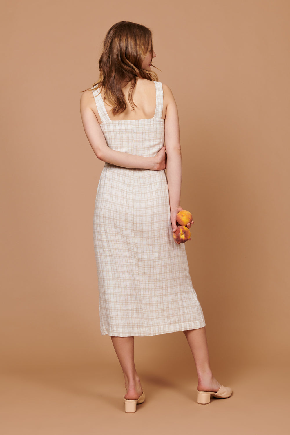 Samantha Dress in Beige Plaid - Whimsy & Row