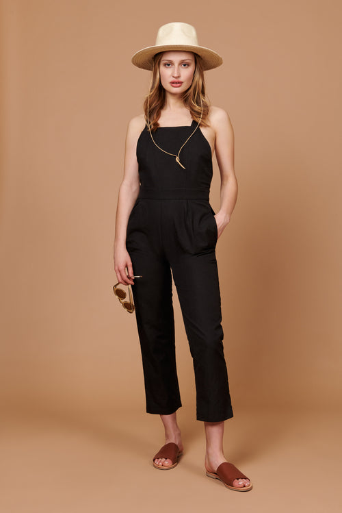 Billie Overalls in Black Linen Canvas