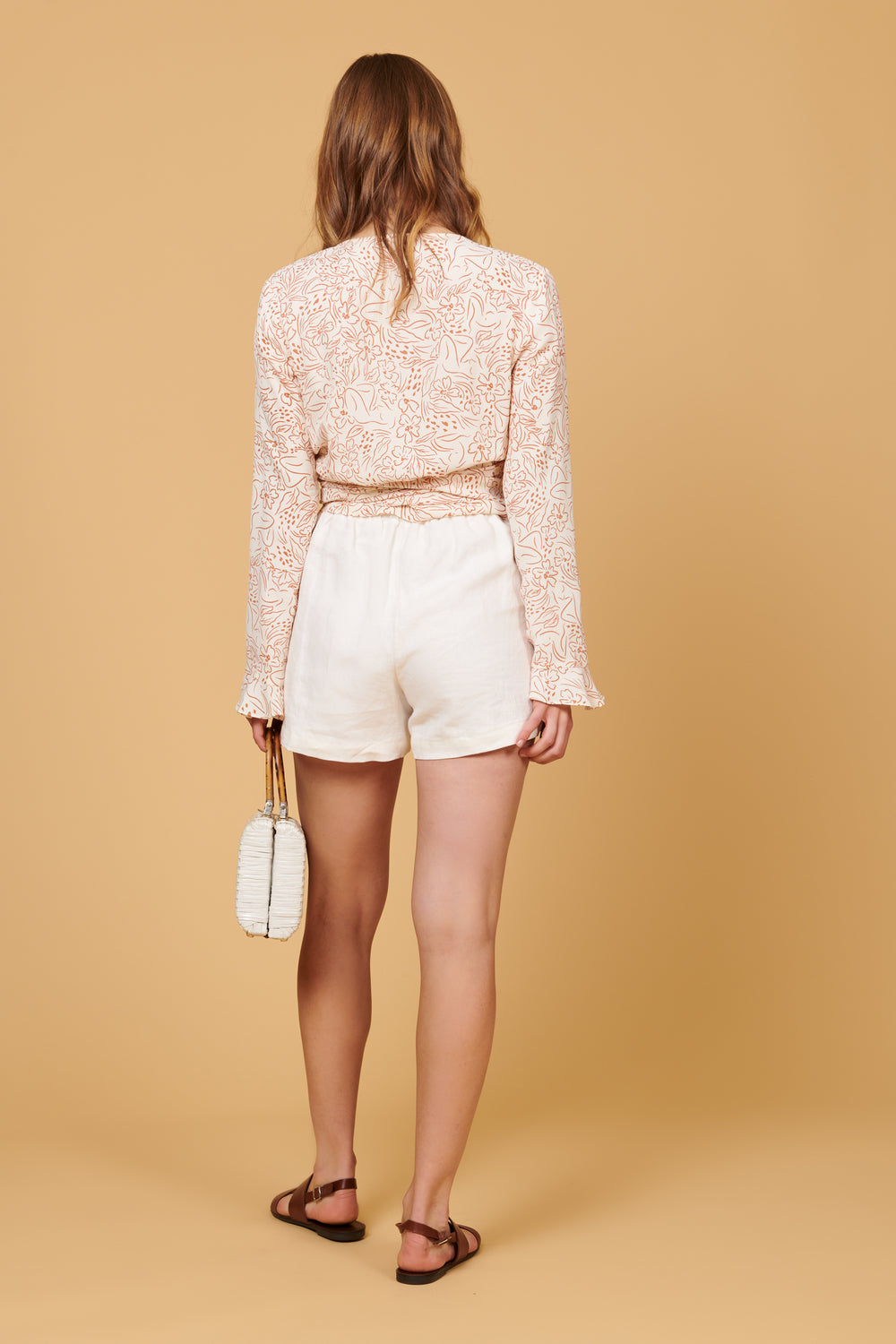 Valentina Shorts in White Linen - Whimsy & Row