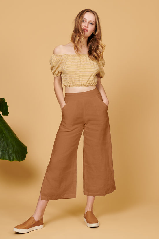 Valentina Pant in Brown Linen - Whimsy & Row