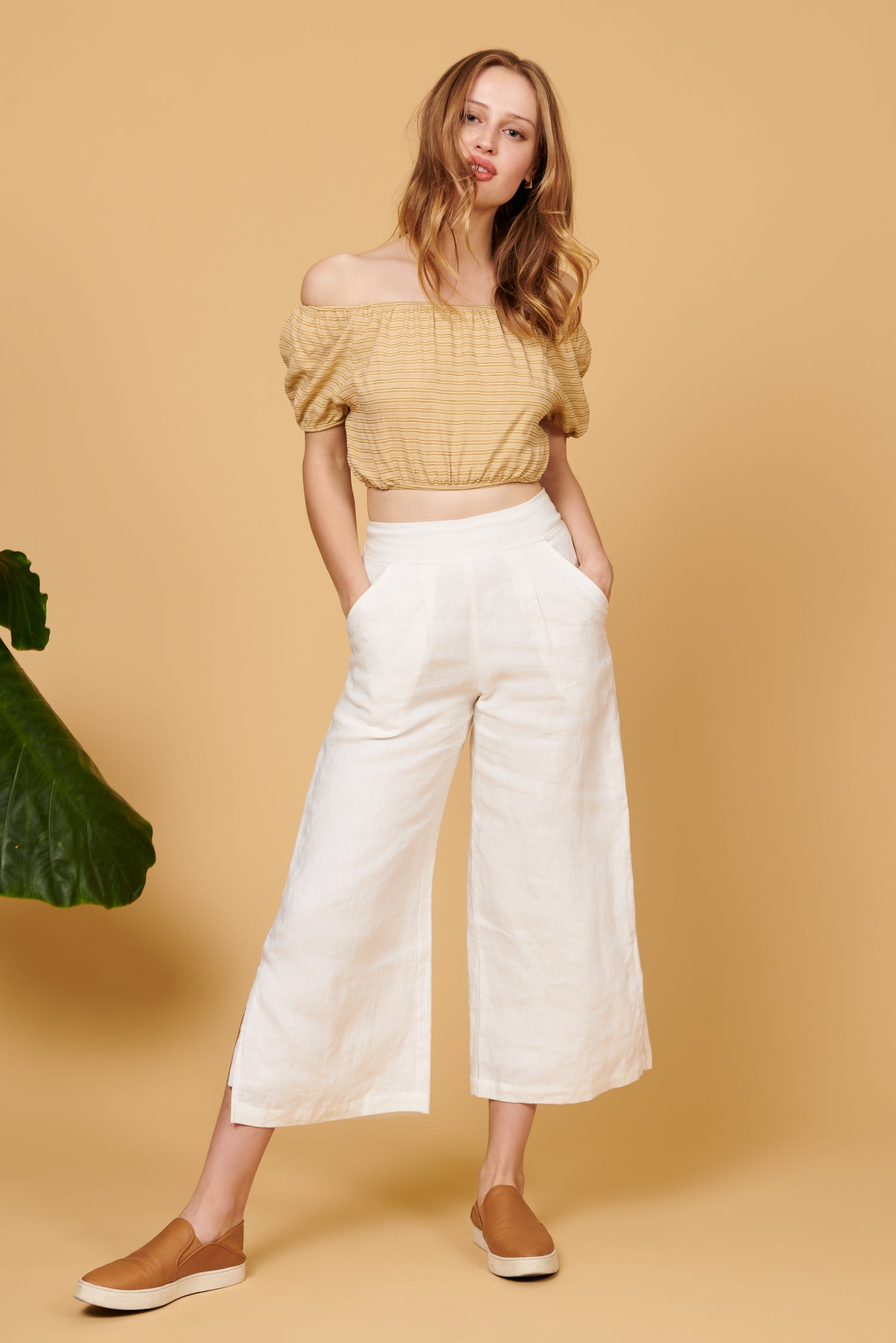 Valentina Pant in White Linen