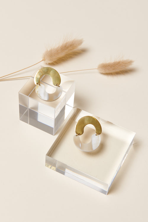 Soko Miro Mixed Material Earrings (Natural)