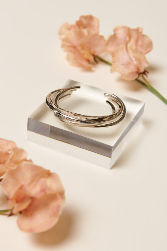 Soko Delicate Bangle Bracelet Set (Silver) - Whimsy & Row